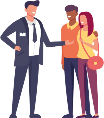 Sales person with Customers